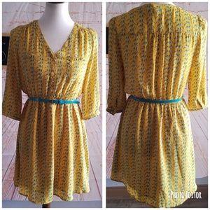 Umgee Button Down Bird Print Dress Size S